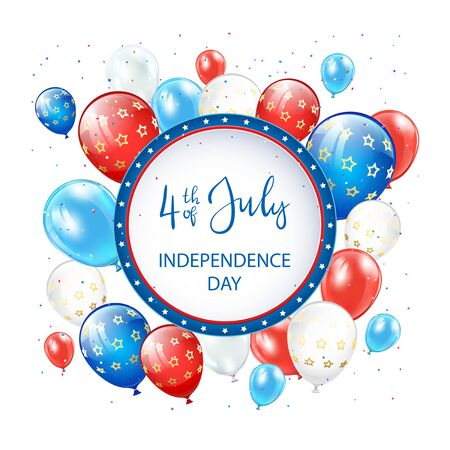 Text Independence day 4th of July with round banner, balloons and confetti on white background. Independence day Theme. Illustration can be used for holiday design, cards, posters, banners.