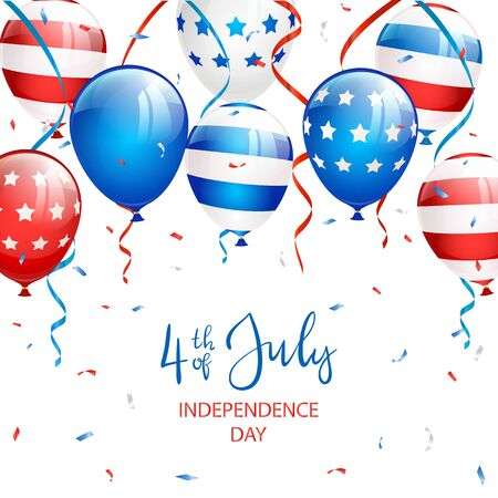 Text Independence day 4th of July with balloons, streamers and confetti on white background. Independence day Theme. Illustration can be used for holiday design, cards, posters, banners. Çizim