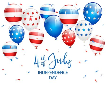 Lettering Independence day 4th of July with balloons and confetti on white background. Independence day Theme. Illustration can be used for holiday design, cards, posters, banners. Çizim