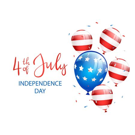 Independence day Theme. Lettering Independence day 4th of July with balloons and confetti on white background. Illustration can be used for holiday design, cards, posters, banners.