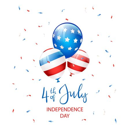 Independence day Theme. Text Independence day 4th of July with balloons and confetti on white background. Illustration can be used for holiday design, cards, posters, banners.