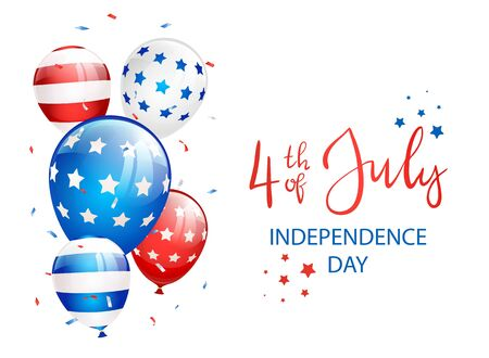 Independence day Theme. Lettering Independence day 4th of July with stars, balloons and confetti on white background. Illustration can be used for holiday design, cards, posters, banners. Çizim