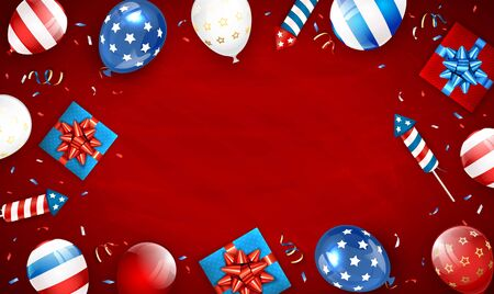 Independence day background. Theme of 4th of July with balloons, gift boxes and rocket fireworks. Red Independence day Theme. Illustration can be used for holiday design, cards, posters, banners.