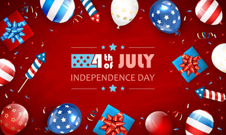 Independence day background and lettering 4th of July with balloons, gift boxes and rocket fireworks. Red Independence day Theme. Illustration can be used for holiday design, cards, posters, banners. Çizim