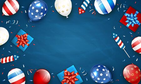 Independence day background. Theme of 4th of July with balloons, gift boxes and rocket fireworks. Blue Independence day Theme. Illustration can be used for holiday design, cards, posters, banners.