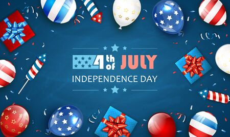 Independence day background and lettering 4th of July with balloons, gift boxes and rocket fireworks. Blue Independence day Theme. Illustration can be used for holiday design, cards, posters, banners. Çizim