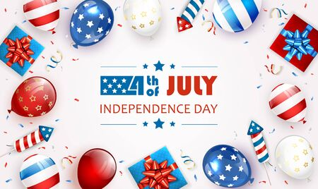 Independence day background and lettering 4th of July with balloons, gift boxes and rocket fireworks. White Independence day Theme. Illustration can be used for holiday design, cards, posters, banners. Çizim