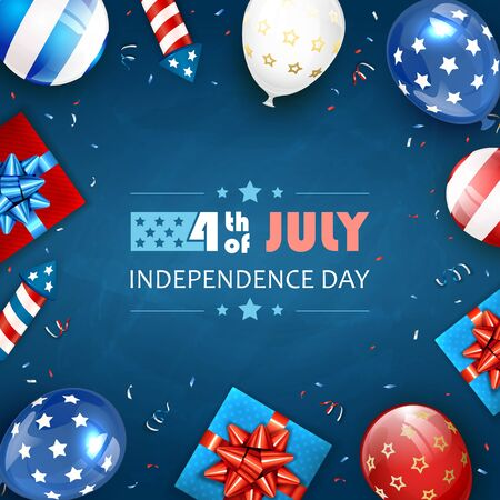 Independence day background. Lettering 4th of July. Balloons, gift boxes and rocket fireworks. Blue Independence day Theme. Illustration can be used for holiday design, cards, posters, banners.