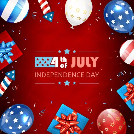 Independence day background. Lettering 4th of July. Balloons, gift boxes and rocket fireworks. Red Independence day Theme. Illustration can be used for holiday design, cards, posters, banners. Çizim