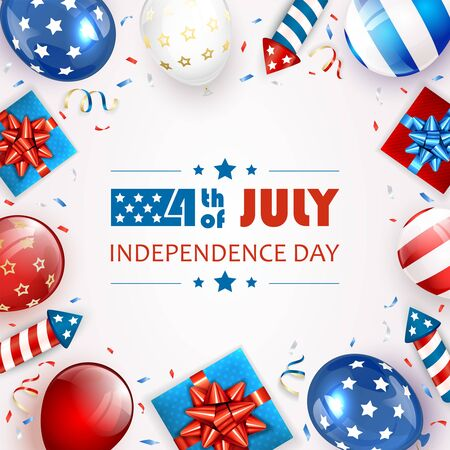 Independence day background. Lettering 4th of July. Balloons, gift boxes and rocket fireworks. White Independence day Theme. Illustration can be used for holiday design, cards, posters, banners.