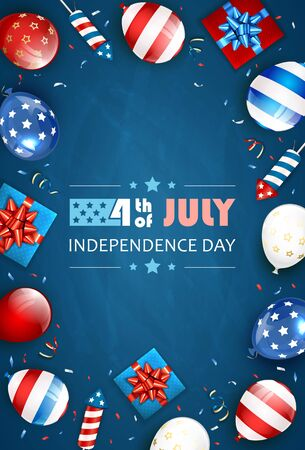 Independence day background and text 4th of July with balloons, gift boxes and rocket fireworks. Blue Independence day Theme. Illustration can be used for holiday design, cards, posters, banners.