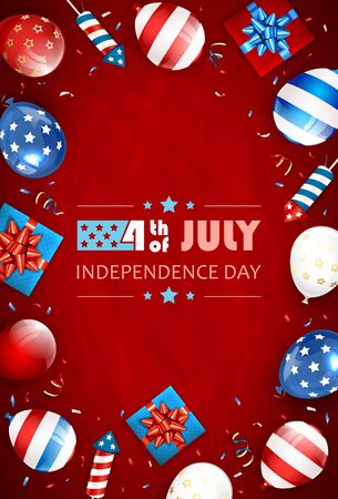 Independence day background and text 4th of July with balloons, gift boxes and rocket fireworks. Red Independence day Theme. Illustration can be used for holiday design, cards, posters, banners.