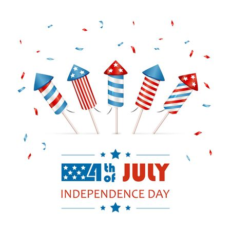 Text 4th of July and seta of fireworks for Independence Day. Firework rockets isolated on white background. Illustration can be used for holiday design, cards, posters, banners, flyers. Ilustración de vector