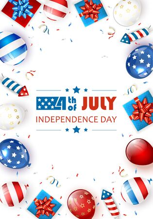 Independence day background and text 4th of July with balloons, gift boxes and rocket fireworks. White Independence day Theme. Illustration can be used for holiday design, cards, posters, banners.