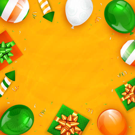 Indian Independence Day with balloons, gift boxes, rocket fireworks and confetti on orange background. Independence day in India. Illustration can be used for holiday design, cards, posters, banners. Çizim