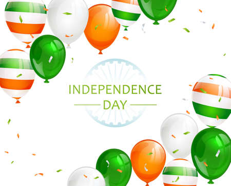 Indian Independence Day with balloons and confetti on white background. Theme of Independence day in India. Illustration can be used for holiday design, cards, posters, banners.