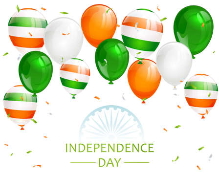 Indian Independence Day with balloons, confetti and wheel on white background. Theme of Independence day in India. Illustration can be used for holiday design, cards, posters, banners.