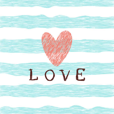 Retro pattern with grunge heart, blue lines and lettering love. Valentine's day backgrounds. Illustration can be used for wallpaper, holiday design, pattern fills, web page background, wrapping paper