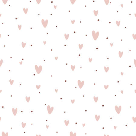 Seamless retro patterns with pink hearts and dots. Valentine's day backgrounds. Illustration can be used for wallpaper, holiday design, pattern fills, web page background, wrapping paper
