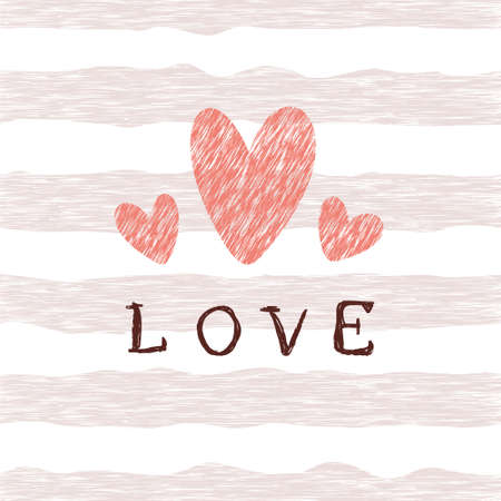 Retro pattern with grunge hearts, pink lines and lettering love. Valentine's day backgrounds. Illustration can be used for wallpaper, holiday design, pattern fills, web page background, wrapping paper Çizim