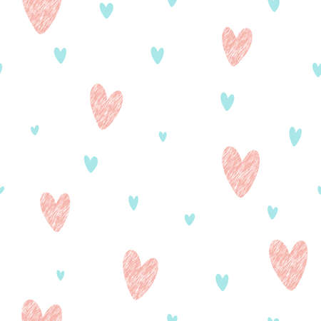 Retro pattern with grunge hearts and blue hearts. Valentine's day backgrounds. Illustration can be used for wallpaper, holiday design, pattern fills, web page background, wrapping paper Çizim