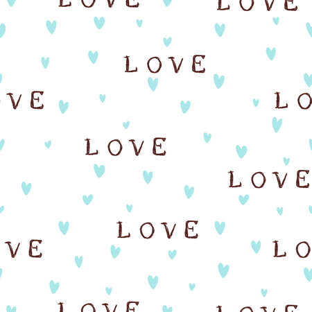 Seamless retro patterns with blue hearts and lettering love. Valentine's day backgrounds. Illustration can be used for wallpaper, holiday design, pattern fills, web page background, wrapping paper