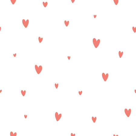 Retro pattern with pink hearts on white background. Valentine's day backgrounds. Illustration can be used for wallpaper, holiday design, pattern fills, web page background, wrapping paper