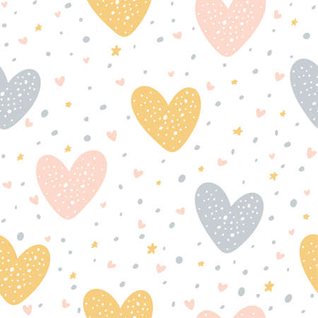 Seamless pattern with hearts, dots and stars on white background. Illustration can be used for Valentines day, children's clothing design, wallpaper, pattern fills, web page background, wrapping paper
