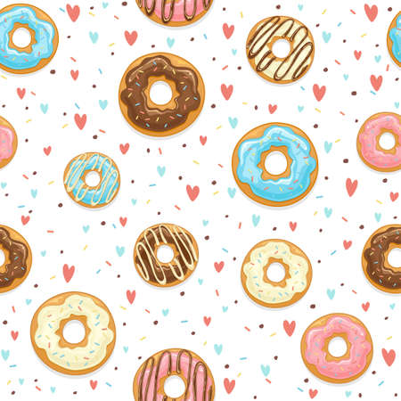 Seamless background with glazed donuts with hearts and colorful sprinkles isolated on white background. Illustration can be used for wallpaper design, pattern fill, web page background, wrapping paper Çizim