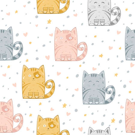 Seamless pattern with kitty, stars and hearts isolated on white background. Illustration can be used for wallpaper, children's clothing design, pattern fill, web page background, wrapping paper Çizim