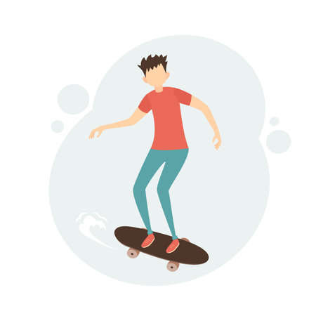 Young man on skateboard. Boy skateboarding. Sport and physical activity concept. Teen boy riding skateboard. Skateboarder boy. Illustration in a flat cartoon style.