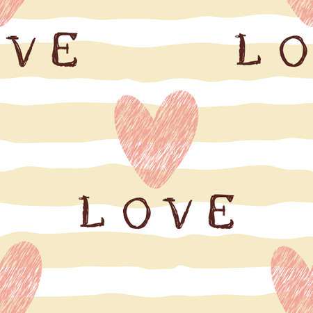 Seamless pattern with heart on beige lines and lettering love. Valentine's day backgrounds. Illustration can be used for wallpaper, holiday design, pattern fills, web page background, wrapping paper