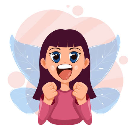 Happy little fairy. Cute girl with wings and big eyes. Smiling child. A girl with magic blue transparent wings dreams and rejoices. Illustration in a flat cartoon style.