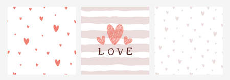 Seamless retro patterns with grunge hearts, lines and love. Valentine's day backgrounds. Illustration can be used for wallpaper, pattern fills, holiday design, web page background, wrapping paper Çizim