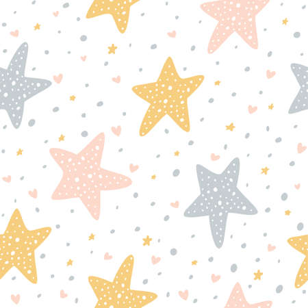 Seamless pattern with stars, dots and hearts on white background. Illustration can be used for Valentines day, children's clothing design, wallpaper, pattern fills, web page background, wrapping paper