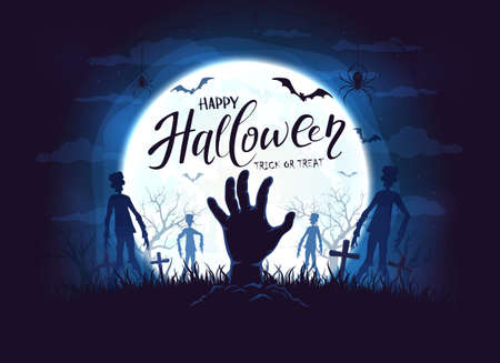 Hand sticks out of ground and dark silhouettes in cemetery. Blue night background with zombie, bats and spiders. Illustration can be used for children's, holiday design, cards, invitations and banner