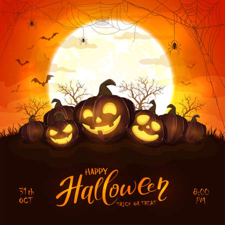 Happy pumpkins on orange halloween background with full moon. Card with Jack O 'Lanterns, bats and spiders. Illustration can be used for children's holiday design, cards, invitations and banner