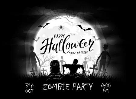 Dark silhouette sticks out of ground in cemetery. Black night background with zombies, bats and spider. Halloween illustration can be used for children's holiday design, cards, invitations and banners Çizim