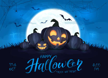Happy pumpkins on blue Halloween background with full moon. Card with Jack O 'Lanterns, bats and spiders. Illustration can be used for children's holiday design, cards, invitations and banner