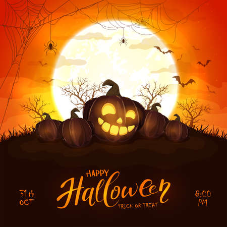 Happy pumpkin on orange halloween background with full moon. Card with Jack O 'Lanterns, bats and spiders. Illustration can be used for children's holiday design, cards, invitations and banner