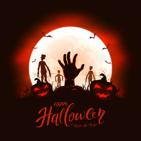 Hand sticks out of ground in cemetery. Black and red night background with pumpkins, zombie, bats and spiders. Illustration can be used for children's, holiday design, cards, invitations and banner
