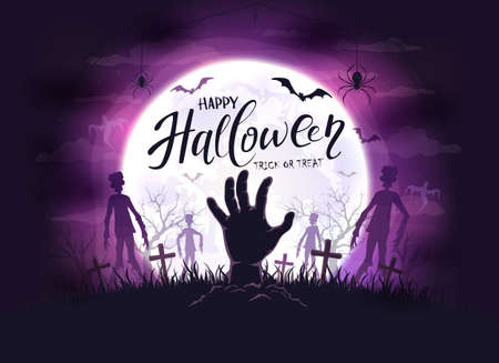 Hand sticks out of ground and silhouettes in cemetery. Dark purple night background with zombie, bats and spiders. Illustration can be used for children's, holiday design, cards, invitation and banner