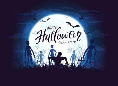 Dark silhouette sticks out of ground in cemetery. Blue night background with zombies, bats and spider. Halloween illustration can be used for children's holiday design, cards, invitations and banners Çizim