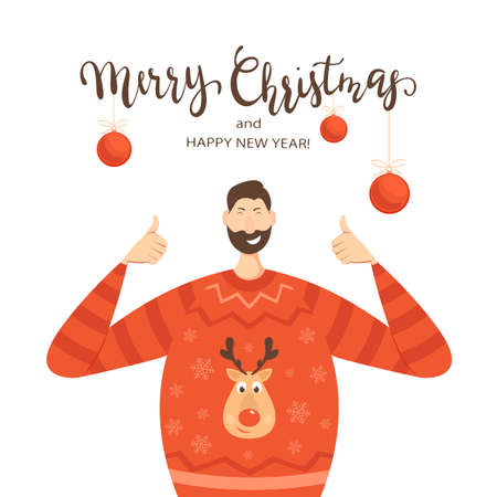 Happy man in a Sweater with Deer show Thumbs Up. Lettering Merry Christmas and Happy New Year isolated on white background with Christmas balls. Illustration can be used for holiday design, cards.