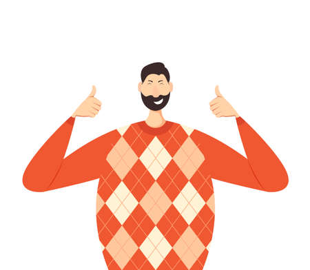 Happy man show Thumbs Up in a red knitwear sweater. Joyful person isolated on white background. Illustration in a flat cartoon style with cute character. Çizim