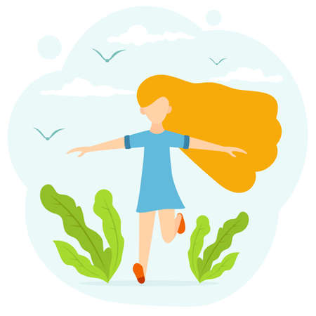 A happy little girl with long hair runs in the Park past plants. Joyful child isolated on white background. Illustration in a flat cartoon style with cute character. Happy childhood concept.