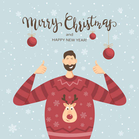 Happy man in a Sweater with Deer show Thumbs Up. Lettering Merry Christmas and Happy New Year on blue winter background with snowflakes and Christmas balls. Illustration can be used for holiday design