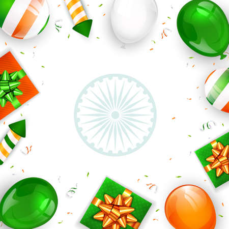 Indian Independence Day on white background. Balloons, gift boxes and rocket fireworks. Theme of Independence day in India. Illustration can be used for holiday design, cards, posters, banners. Çizim