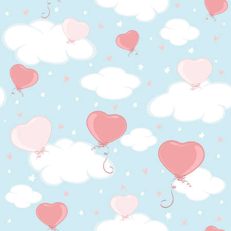 Holiday seamless background. Valentine balloons in the form of Heart in blue sky. Illustration can be used for wallpaper, children's clothing design, pattern fill, web page background, wrapping paper