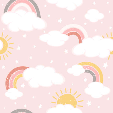 Seamless background with clouds and rainbows on pink sky. Magical repeat pattern. Illustration can be used for wallpaper, children's clothing design, pattern fill, web page background, wrapping paper